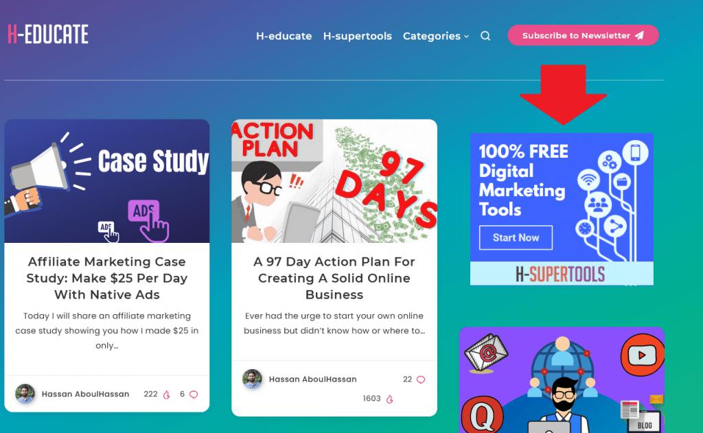 blog homepage showing h-supertools ad