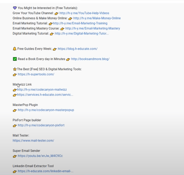 affiliate links in youtube description